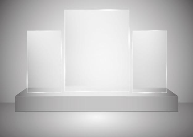 Prostokątne podium ze szklanym cokołem lub platformą oświetloną reflektorami na szarym tle. scena z malowniczymi światłami.