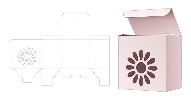 Prostokątne pudełko z szablonem wycinanym z motywem kwiatowym