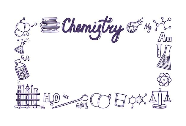 Prostokątne pudełko złożone z ikon chemii ramka na twoje projekty i teksty