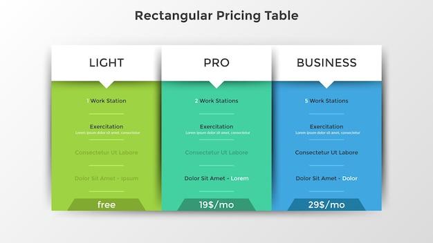 Prostokątne tabele cenowe z listą dołączonych opcji lub funkcji. plany abonamentowe light, pro i business, wybór produktów internetowych. szablon projektu nowoczesny plansza. ilustracja wektorowa płaski.