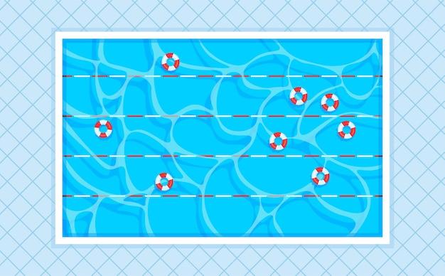 Prostokątny basen z torami i kołami ratunkowymi kwadratowe płytki widok z góry.
