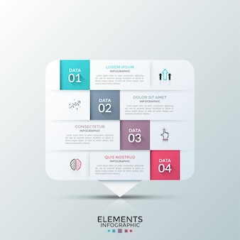Prostokątny biały element papierowy podzielony na 4 poziome poziomy z płaskimi piktogramami i miejscem na tekst. koncepcja czterech etapów procesu rozwoju. plansza projekt układu.