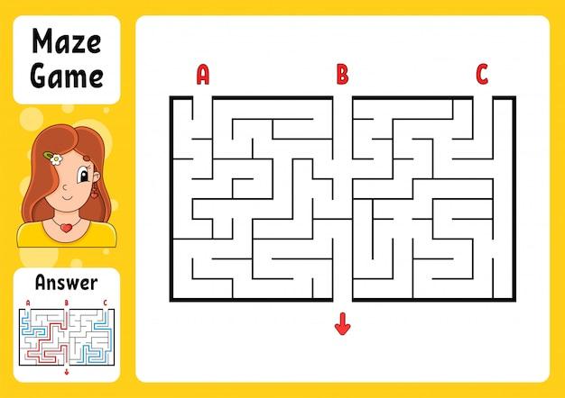 Prostokątny labirynt. gra dla dzieci. trzy wejścia, jedno wyjście. puzzle dla dzieci.