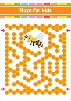Prostokątny labirynt kolorów. pszczoła w paski. gra dla dzieci. zabawny labirynt. arkusz rozwoju edukacji. strona aktywności.
