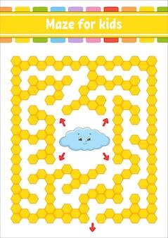 Prostokątny labirynt kolorów. śmieszna chmura. gra dla dzieci. zabawny labirynt. arkusz rozwoju edukacji. strona aktywności.