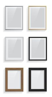 Prostokątny obraz lub ramki na zdjęcia zestaw na białym tle.