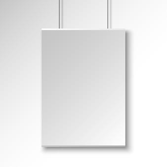 Prostokątny plakat na białej ścianie. transparent. ilustracja.