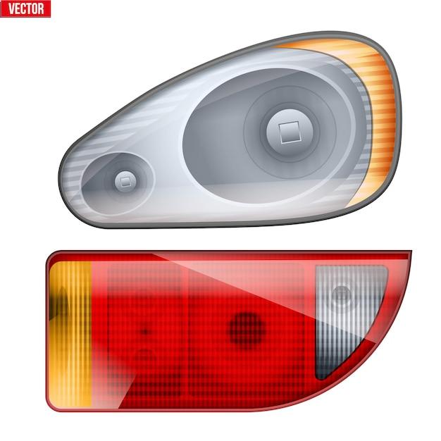 Prostokątny reflektor samochodowy i podświetlenie. szklana obudowa reflektora i podświetlenia.