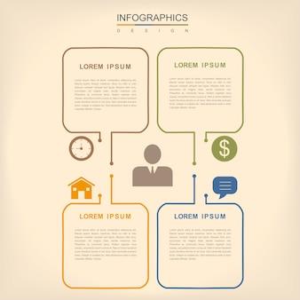 Prostota projektowania infografiki z elementami cienkich linii