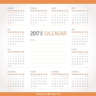 Prosty 2017 kalendarz z pomarańczowymi szczegóły