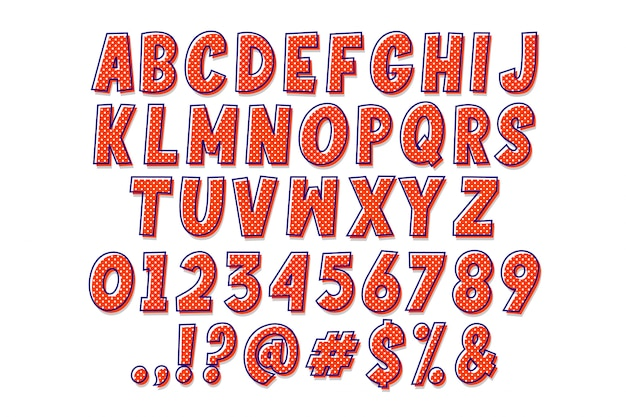 Prosty alfabet kreskówka pop-art