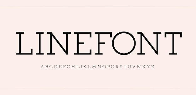 Prosty alfabet szeryfowy z cienkiej, eleganckiej czcionki dla nowoczesnego logo nagłówka i napisu logo
