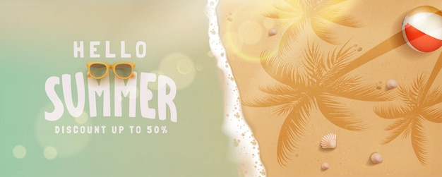 Prosty baner hello summer sale concept