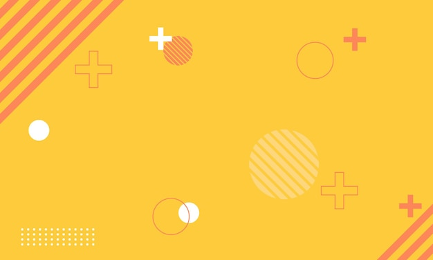 Prosty biało-czerwony memphis na żółtym tle. najlepszy projekt reklamy, plakatu, banera.