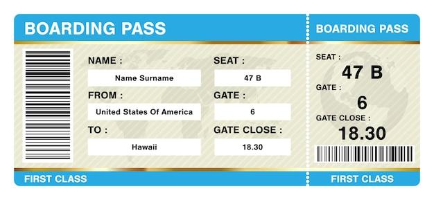 Prosty bilet na kartę pokładową na białym tle