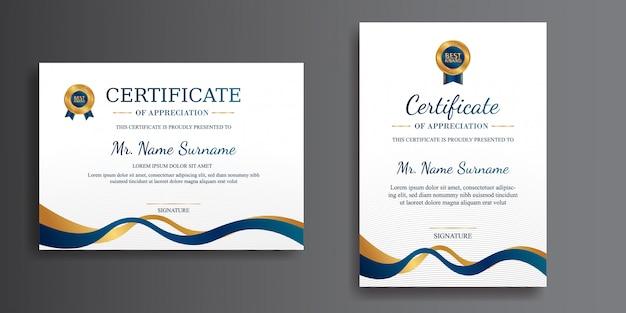 Prosty certyfikat w kolorze niebieskim i złotym ze złotym szablonem odznaki dla dokumentu dyplomowego