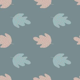 Prosty dąb wzór na niebieskim tle. tło liści. tapeta natura. do projektowania tkanin, drukowania tekstyliów, pakowania, okładek. ilustracja wektorowa zbiory.