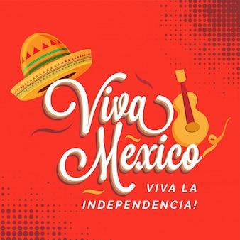 Prosty dzień niepodległości meksyku w kapeluszu i gitarze