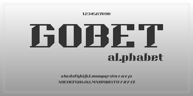 Prosty, elegancki, nowoczesny alfabet z szablonem stylu miejskiego