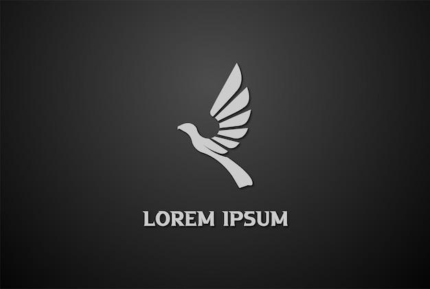 Prosty geometryczny latający ptak orzeł jastrząb feniks projekt logo wektor