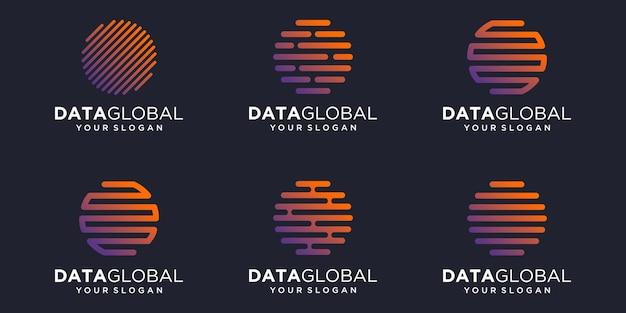 Prosty globalny zestaw ikon cyfrowych, globalny połączony element cyfrowy lub dane. szablon projektu logo