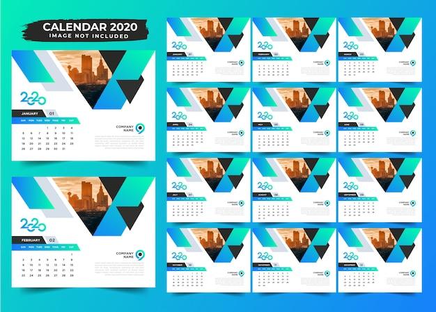 Prosty gradient projekt kalendarza biurkowego 2020