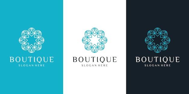 Prosty i elegancki szablon kwiatowy monogram, elegancki projekt logo sztuki linii.