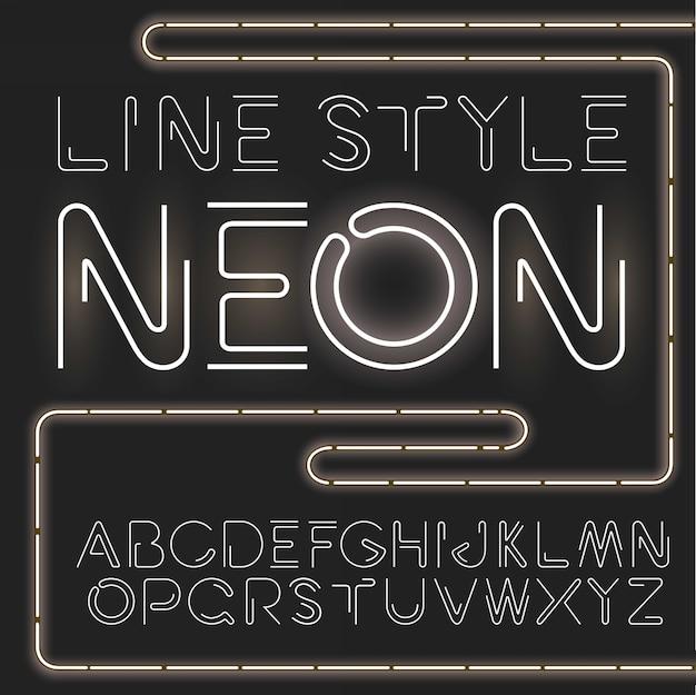 Prosty i minimalistyczny alfabet w stylu linii