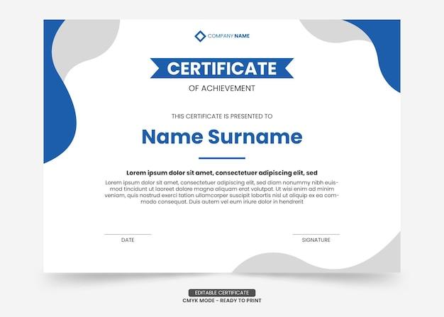 Prosty i nowoczesny szablon certyfikatu