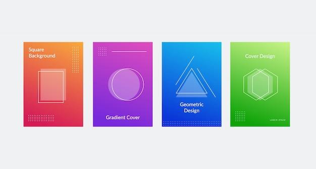 Prosty i nowoczesny zestaw okładek z gradientowymi kolorami, geometrycznymi i liniowymi kształtami.