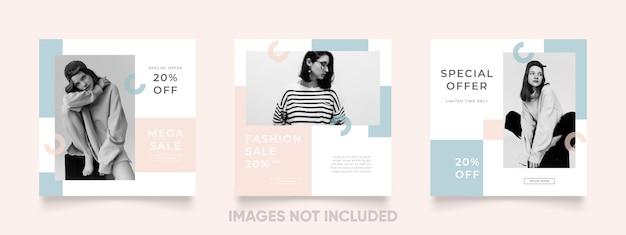 Prosty i piękny kolorowy szablon post instagram