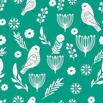 Prosty i przyjemny wzór w kwiaty i ptaki.