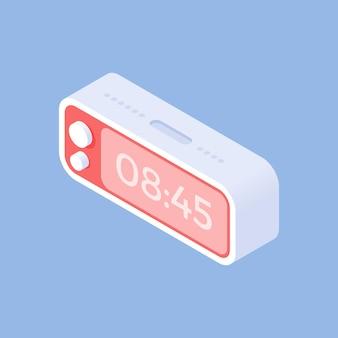 Prosty izometryczny projekt ilustracji ze współczesnym trójwymiarowym zegarem cyfrowym pokazującym czas wstania rano na białym tle na niebieskim tle