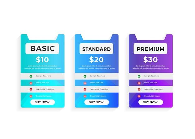 Prosty kolorowy szablon planów cenowych dla sieci