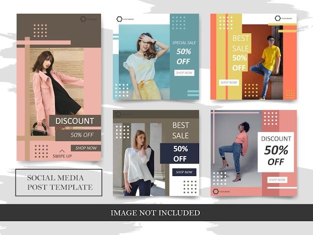 Prosty kwadratowy sztandar sprzedaży mody i fabuła ustawiona na instagram post
