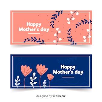 Prosty kwiatowy dzień matki banner