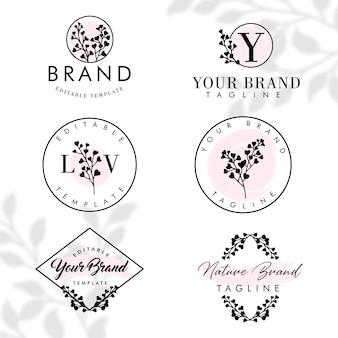 Prosty kwiatowy natura botaniczna rama logo edytowalny zestaw szablonów