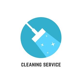 Prosty logotyp usługi sprzątania. koncepcja ściągaczki, oczyszczania, czyszczenia na mokro, mopa, odznaki czyszczenia, zamiatania. na białym tle. płaski trend w nowoczesnym stylu projektowania ilustracji wektorowych