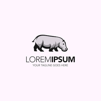 Prosty minimalistyczny abstrakcyjny projekt logo hipopotama
