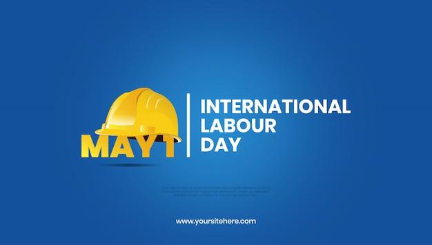 Prosty minimalny międzynarodowy dzień pracy z kaskiem