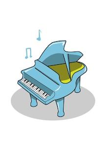 Prosty niebieski rysunek odręczny fortepian