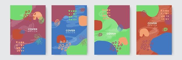 Prosty nowoczesny pastelowy odcień ziemi ręcznie rysowane projekt okładki książki z kropelką, płynem, kropką, geometrycznymi i abstrakcyjnymi kształtami. abstrakcyjne nowoczesne szablony okładek