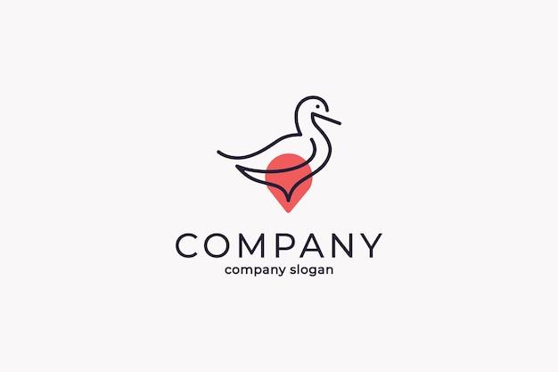 Prosty nowoczesny szablon ikona wektor logo punkt kaczki