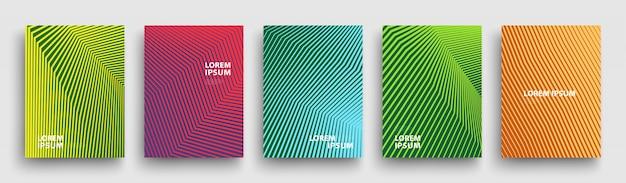 Prosty nowoczesny szablon obejmuje, zestaw minimalnych gradientów geometrycznych półtonów