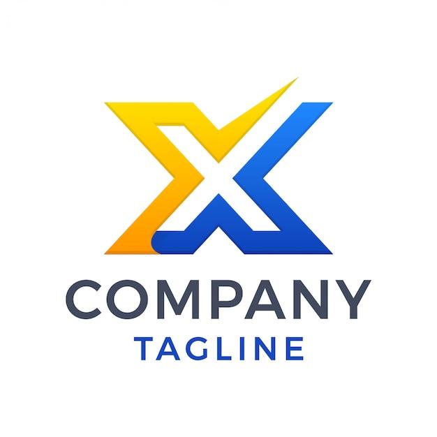Prosty, odważny, nowoczesny, litera x znacznik wyboru, czyste logo