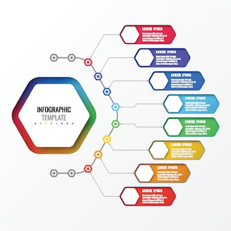 Prosty osiem opcji projektowania układu plansza szablon z sześciokątnymi elementami. schemat procesu biznesowego
