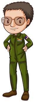 Prosty pilot w zielonym mundurze