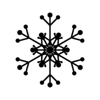 Prosty płatek śniegu z czarnymi liniami. świąteczna dekoracja na nowy rok i boże narodzenie
