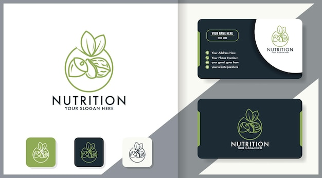 Prosty projekt logo orzechów wykorzystuje grafikę liniową i wizytówkę