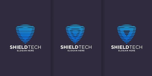 Prosty projekt logo tech strażnika, koncepcja linii